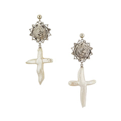 Silver Pearl Cross Earrings