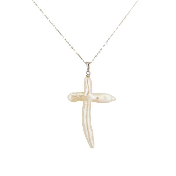 Silver Pearl Cross Necklace