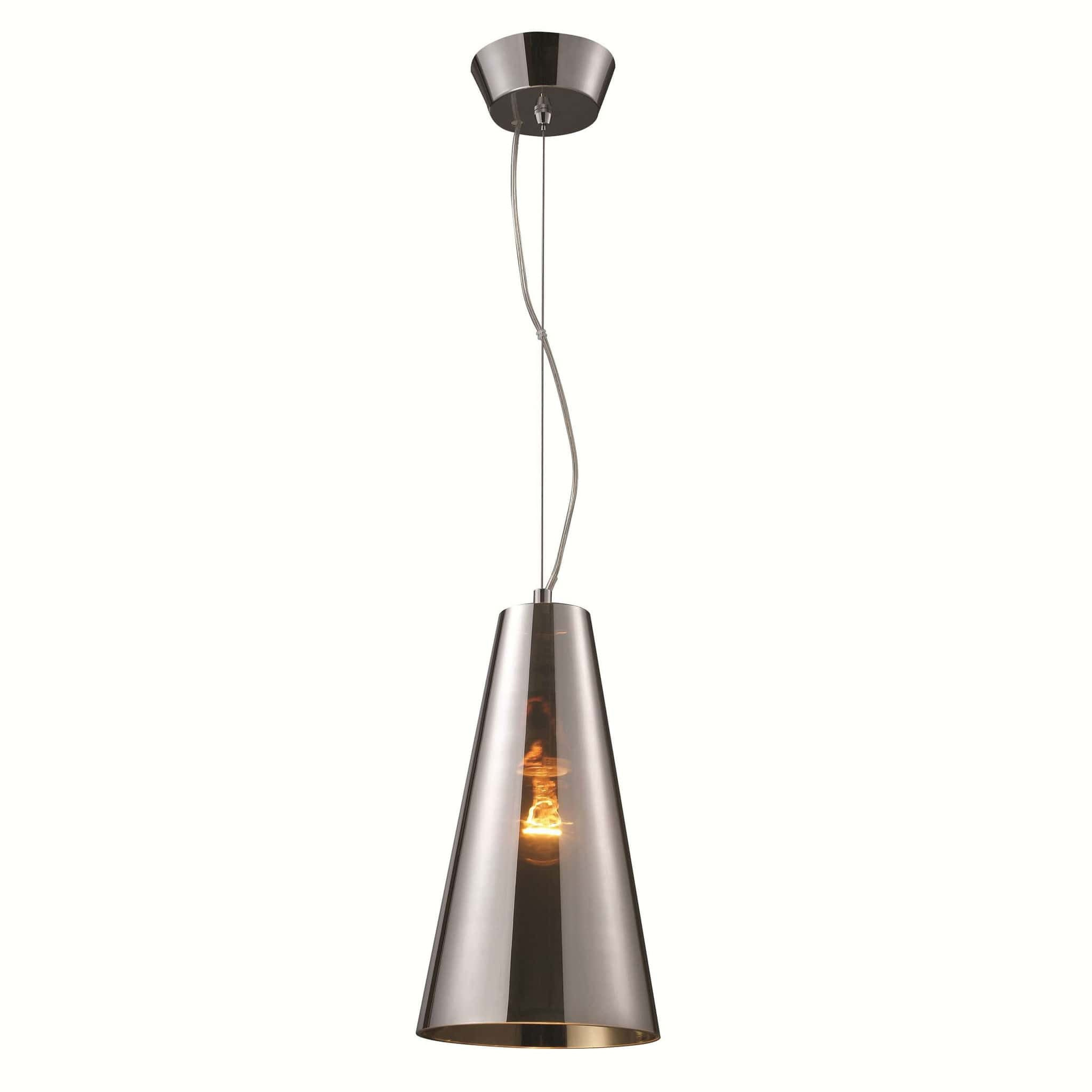 Azzardo Capo Silver Glass Chrome Conical Pendant Light AD 8083 1