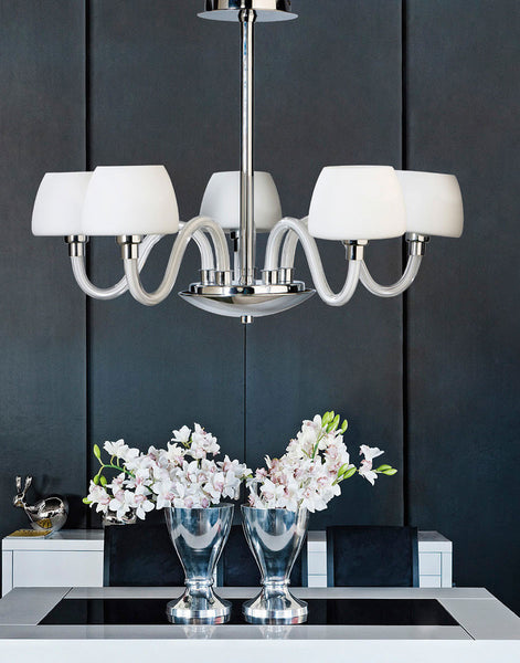 Azzardo gloria 5 light white glass shade chandelier for Dining room 5 light chandelier