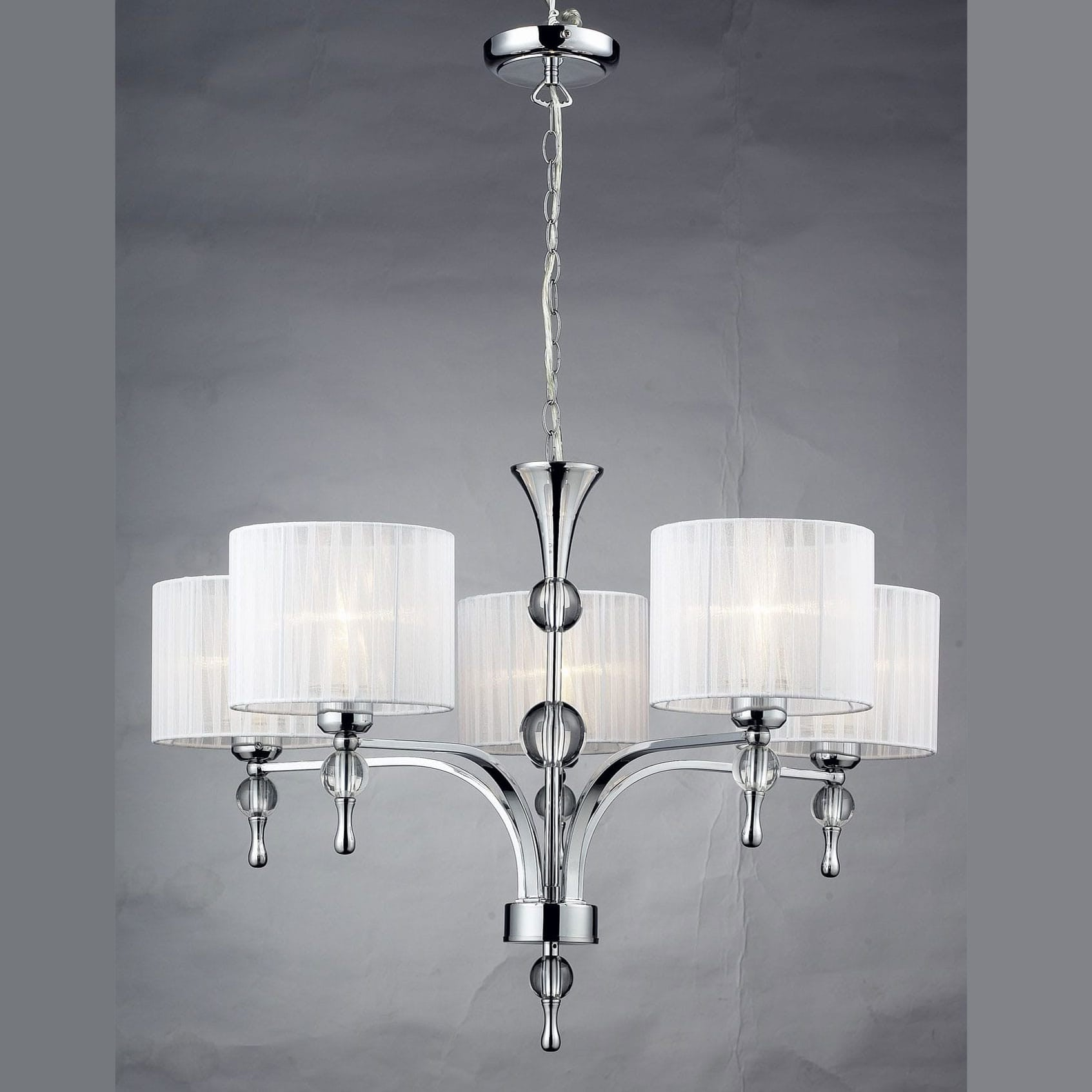 Azzardo Impress 5 Light Chrome White Shade Chandelier