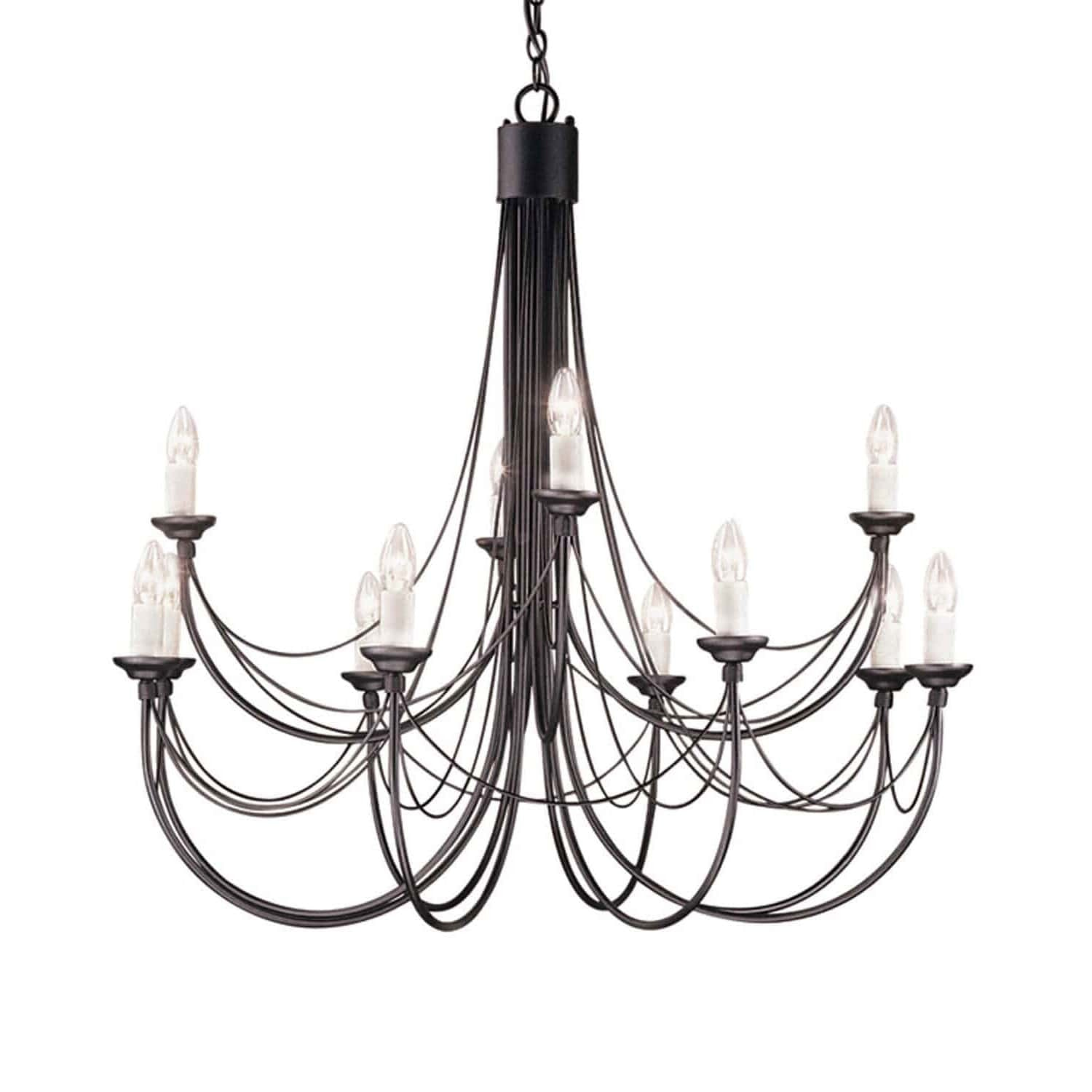 Elstead Carisbrooke 12 Light Black Candle Chandelier CB12 BLACK ...
