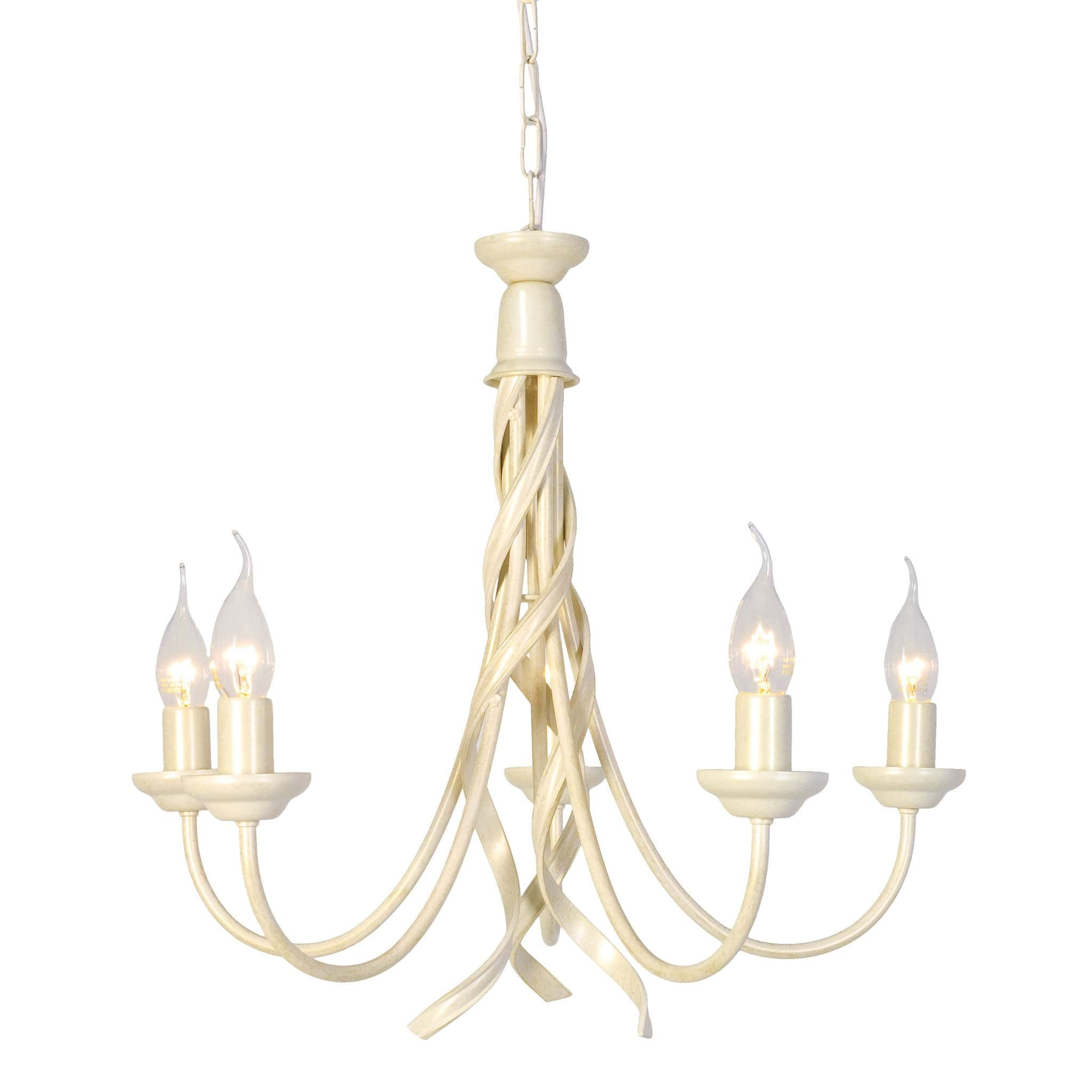 Elstead Ribbon 5 Light Ivory Gold Candle Chandelier