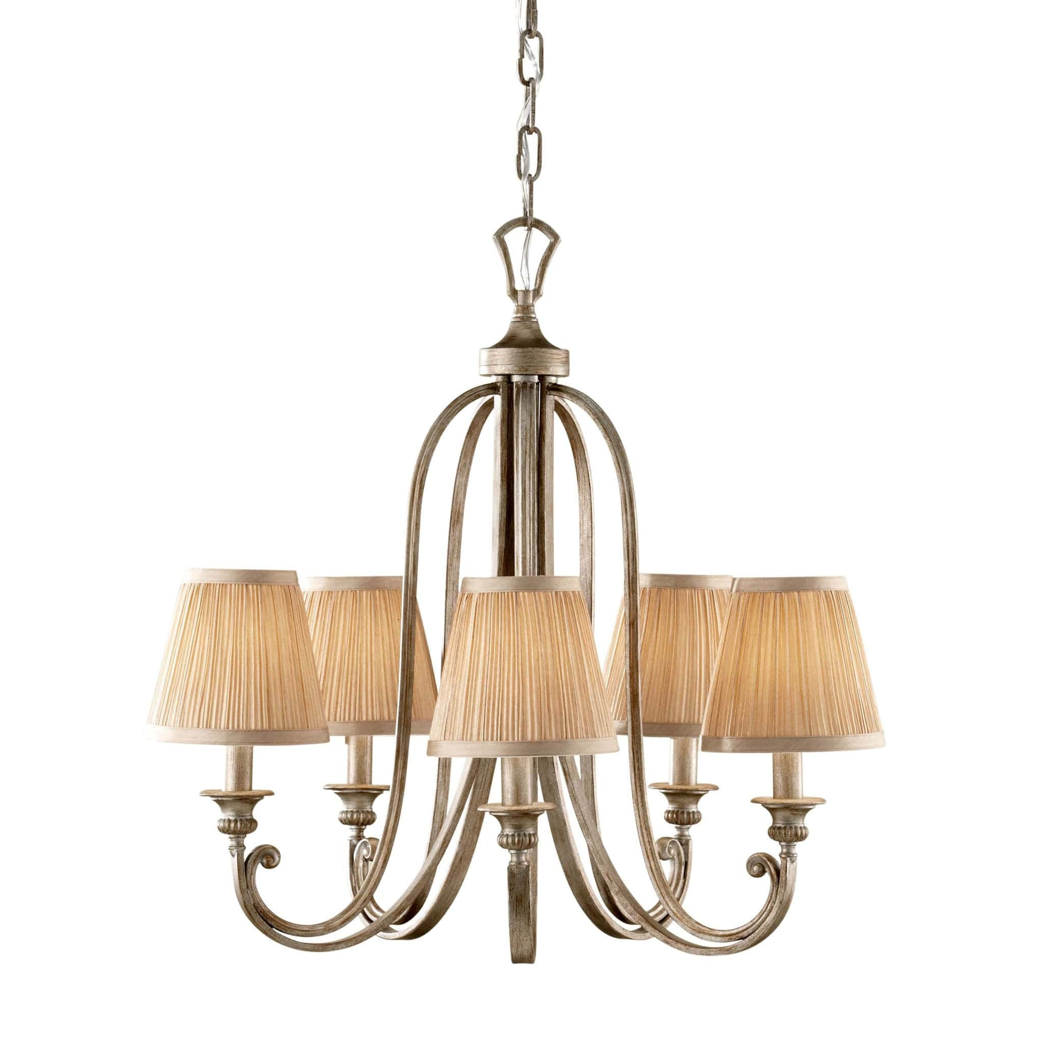 Feiss Abbey 5 Light Silver Sand Shade Chandelier FE/ABBEY5 ...