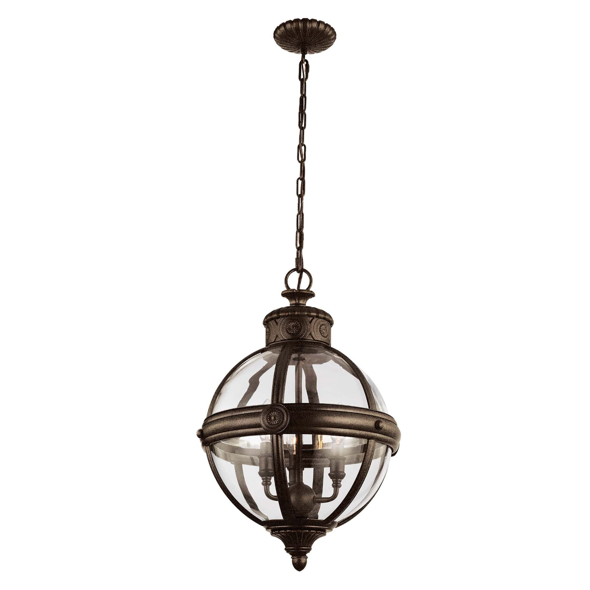 Feiss Adams 3 Light Bronze Glass Orb Candle Pendant