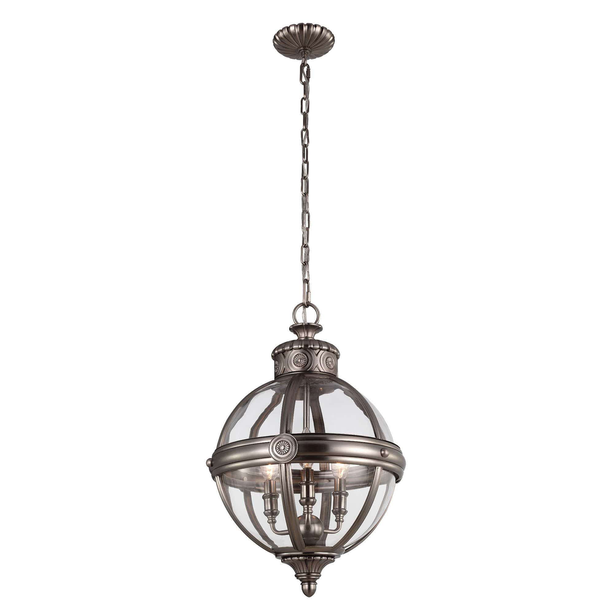 Feiss Adams 3 Light Nickel Glass Orb Candle Pendant