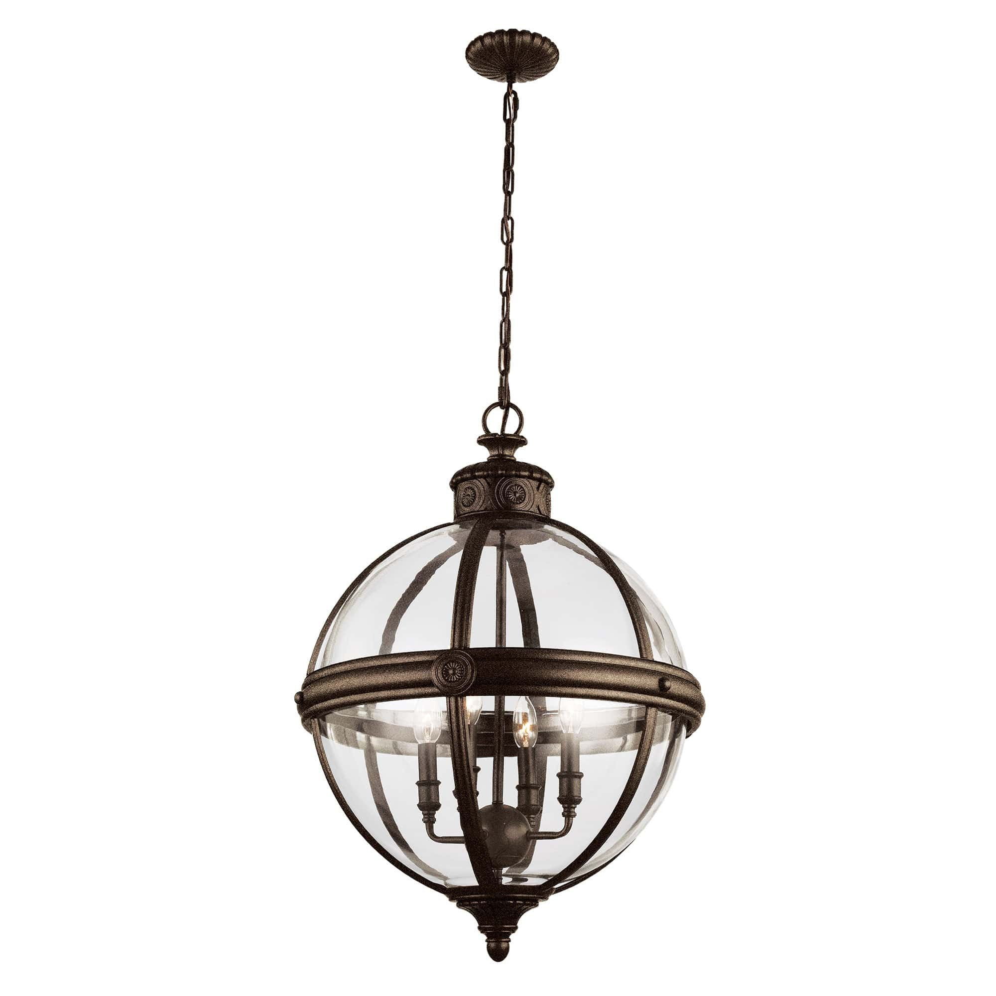 Feiss Adams 4 Light Bronze Glass Orb Candle Pendant