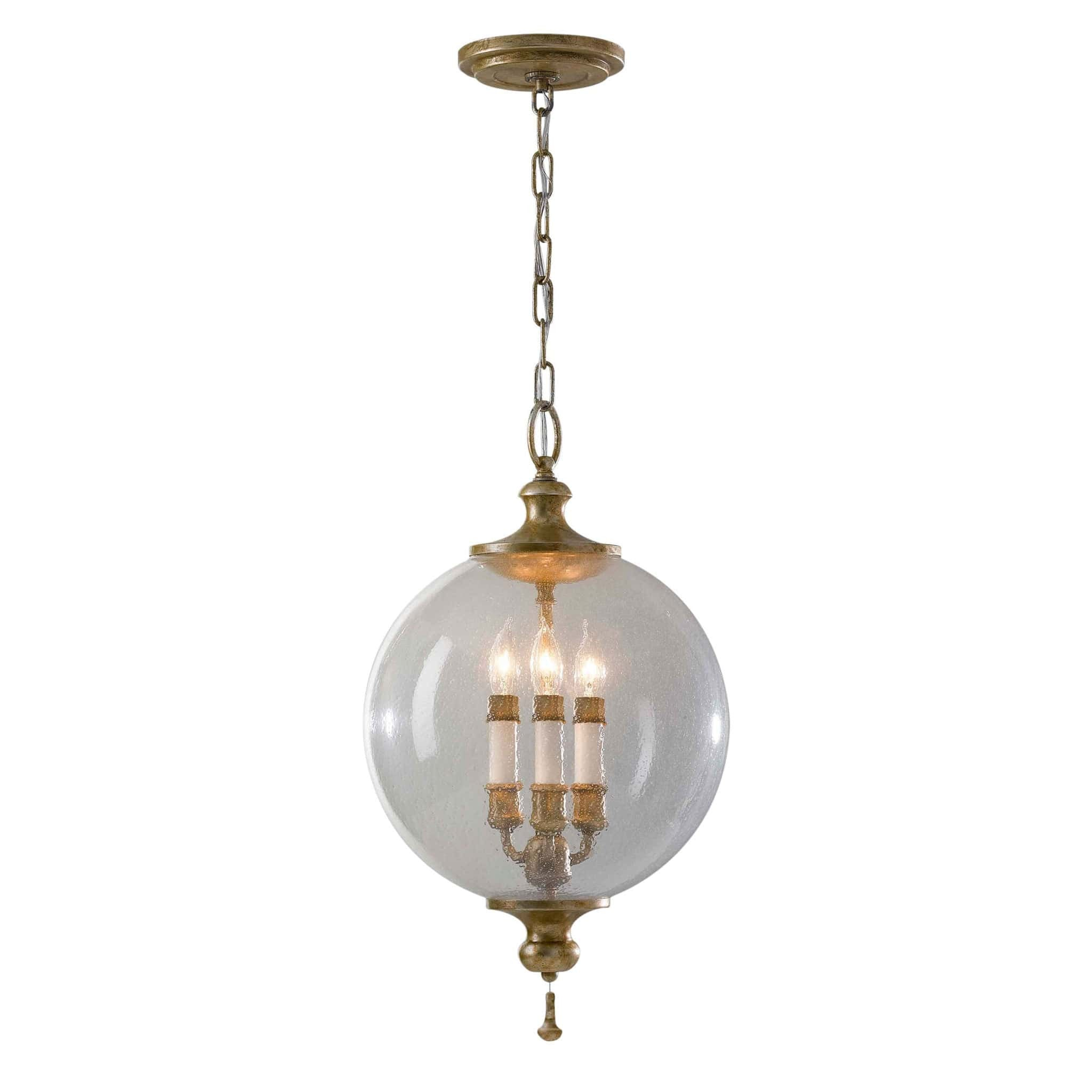 large glass cylindrical lamp hanging bubbled pendant