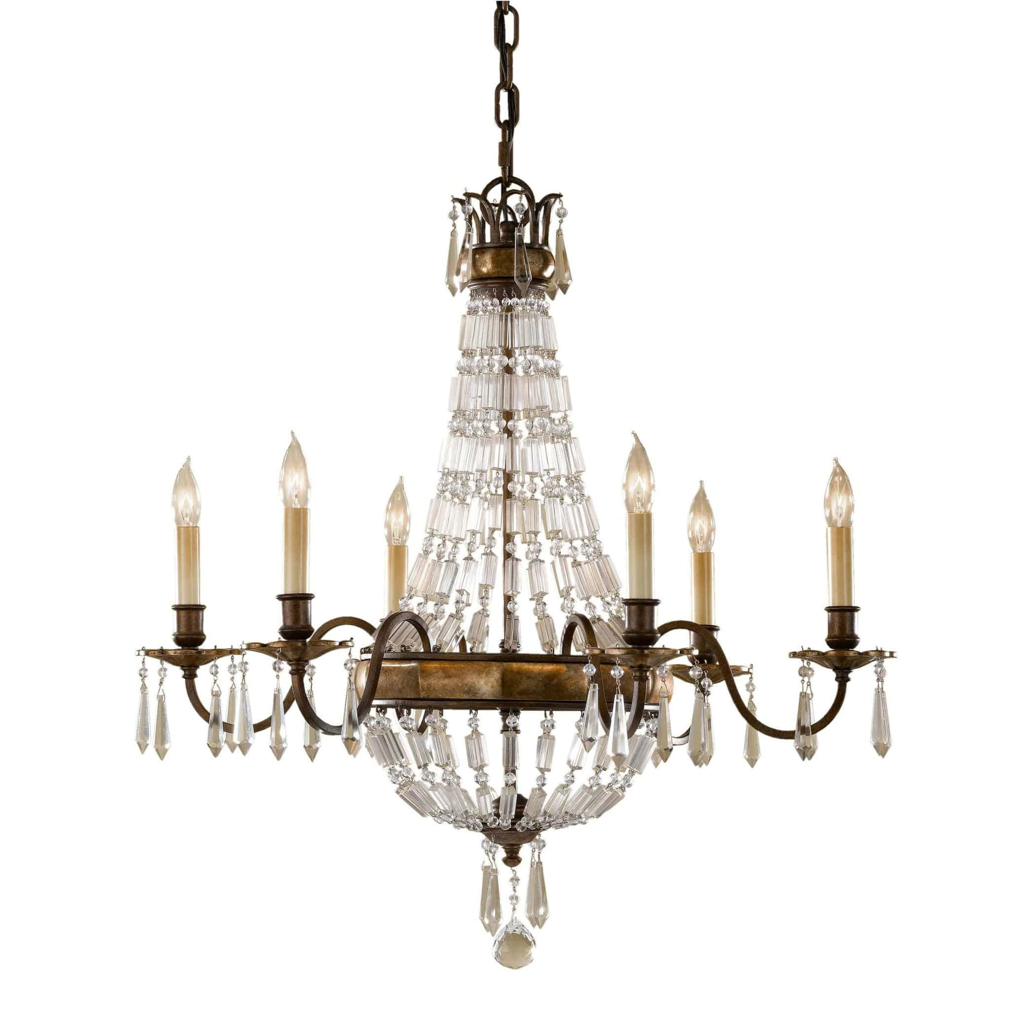 Feiss Bellini 6 Light Bronze Crystal Candle Chandelier
