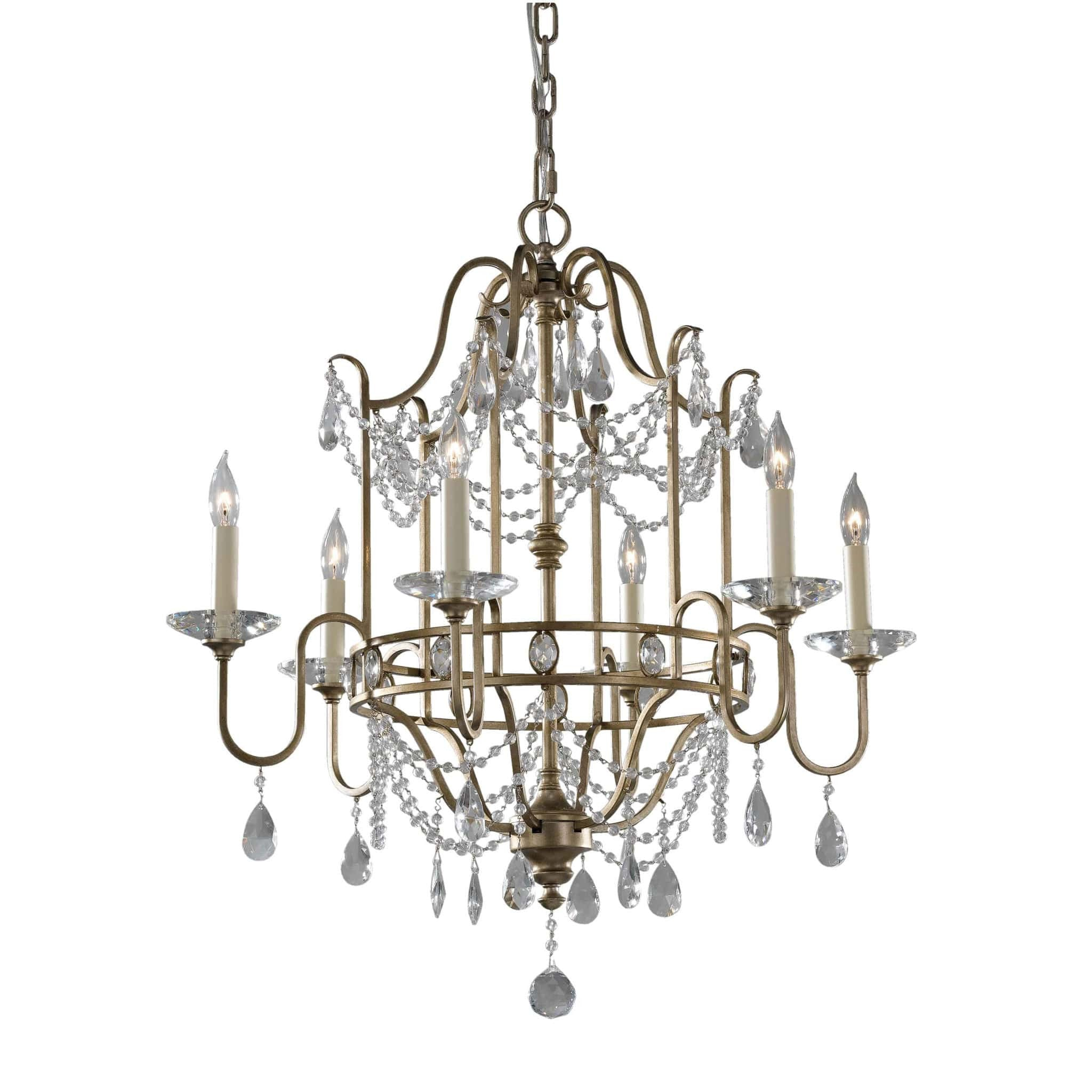 Feiss Gianna 6 Light Gilded Silver Duo Mount Chandelier FE/GIANNA6 ...