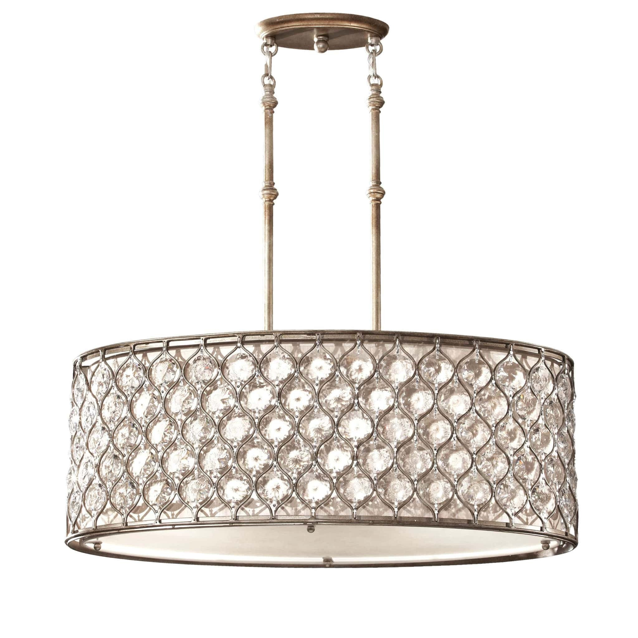 Feiss Lucia 3 Light Burnished Silver Oval Chandelier FE/LUCIA/P/A ...