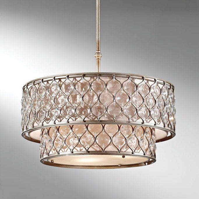 Feiss Lucia 6 Light Burnished Silver Pendant Chandelier FE/LUCIA/P/E 2TR ...