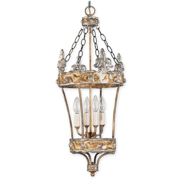 Flambeau Crown 4 Light Gold Glass Lantern Pendant Light