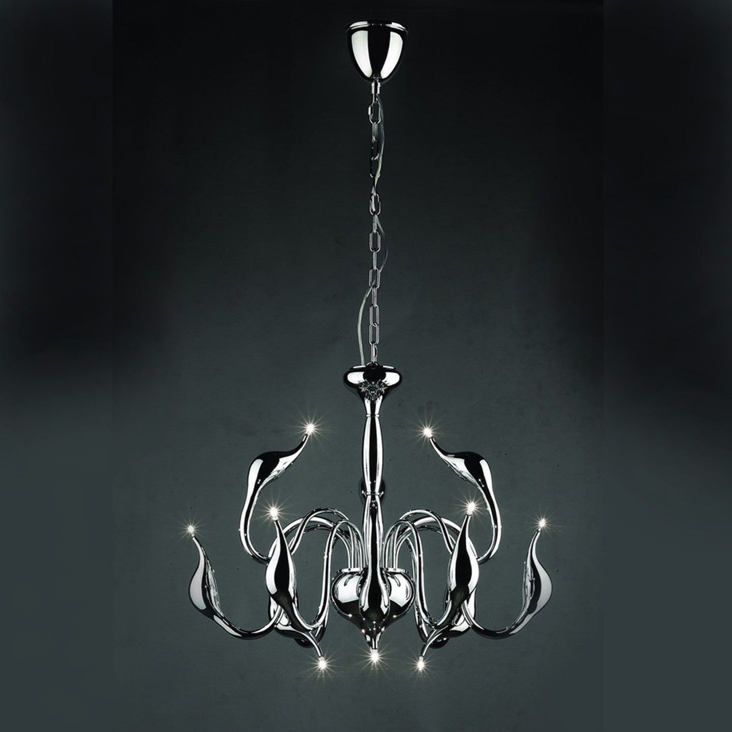 Illuminati swan 12 light chrome pendant chandelier chandelier shack illuminati swan 12 light chrome pendant chandelier md8098 12a ch aloadofball Images