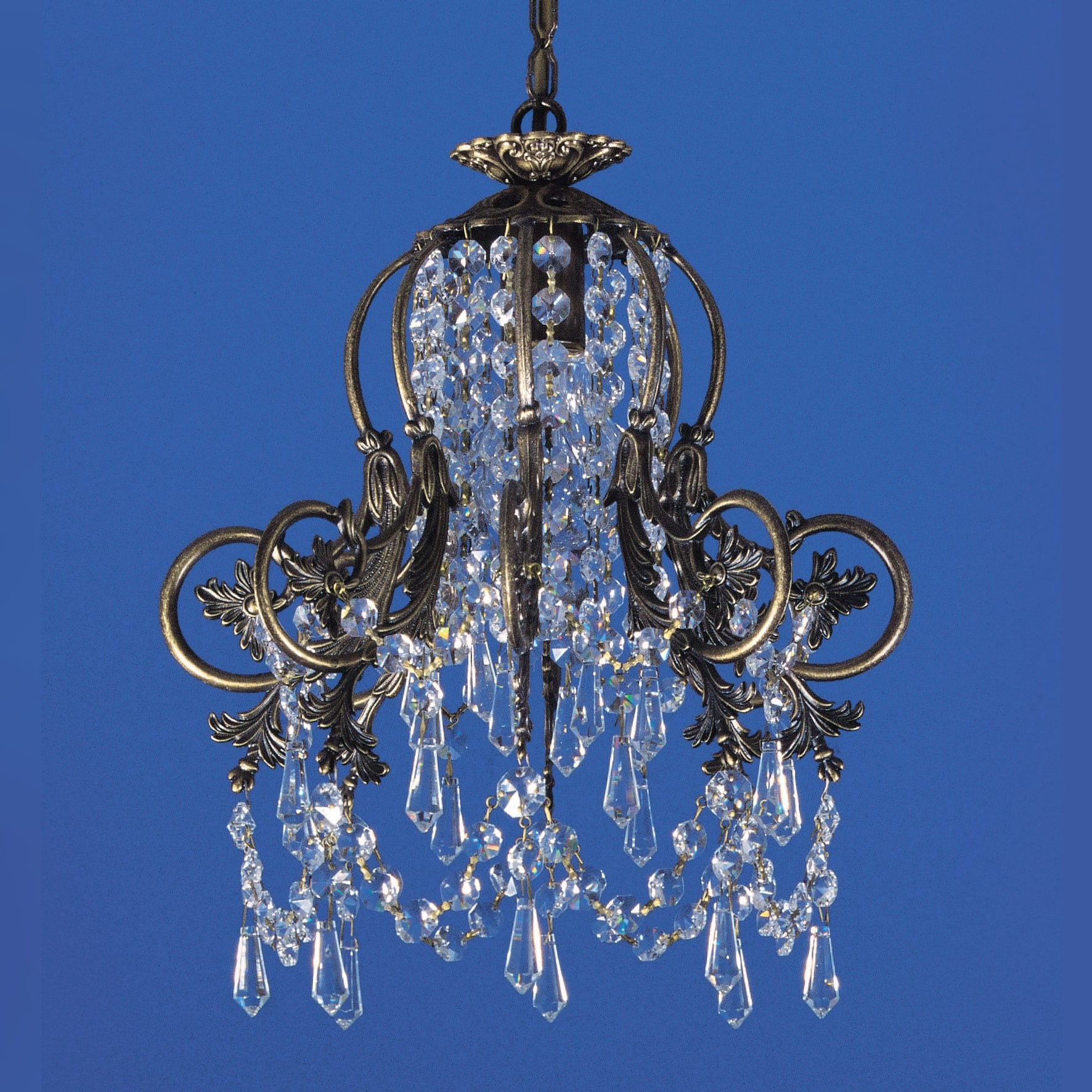 Impex Bell 1 Light Brass Strass Lead Crystal Chandelier
