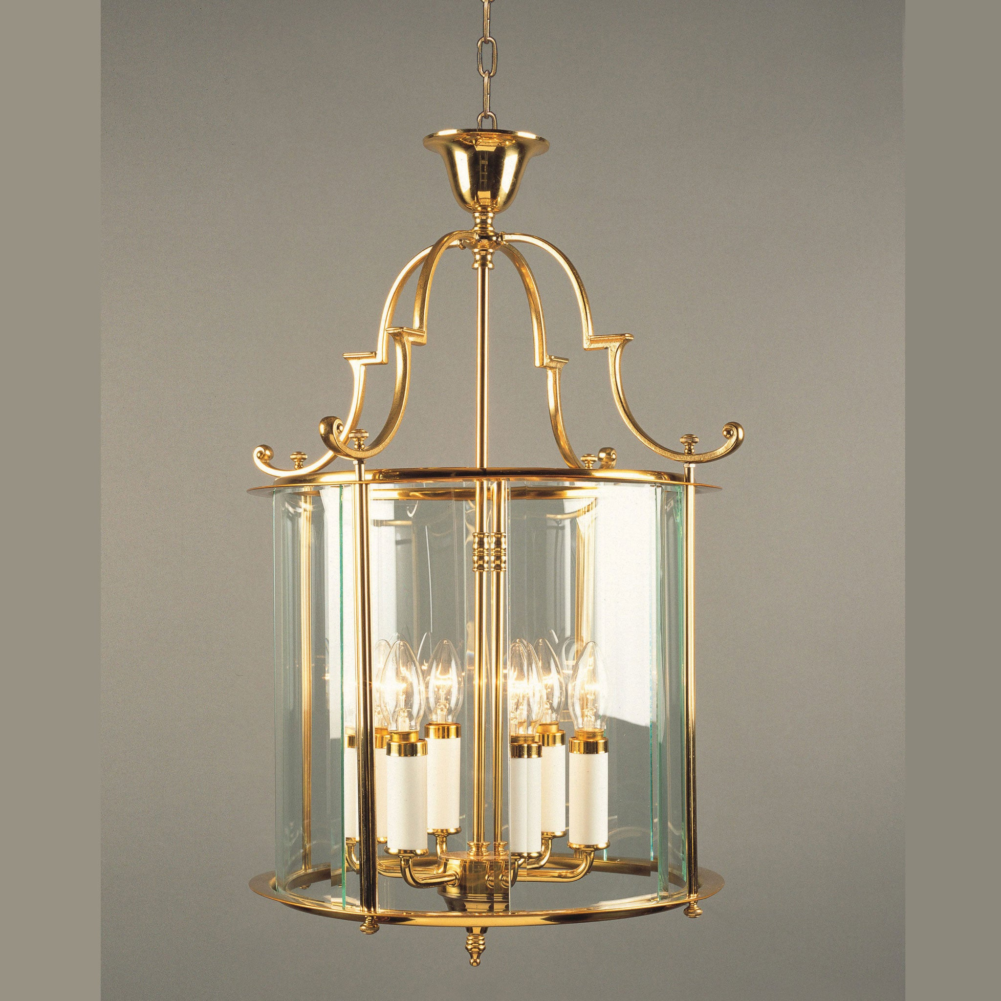 Impex Colchester 6 Light Glass Lantern Polished Brass – Brass and Glass Chandelier