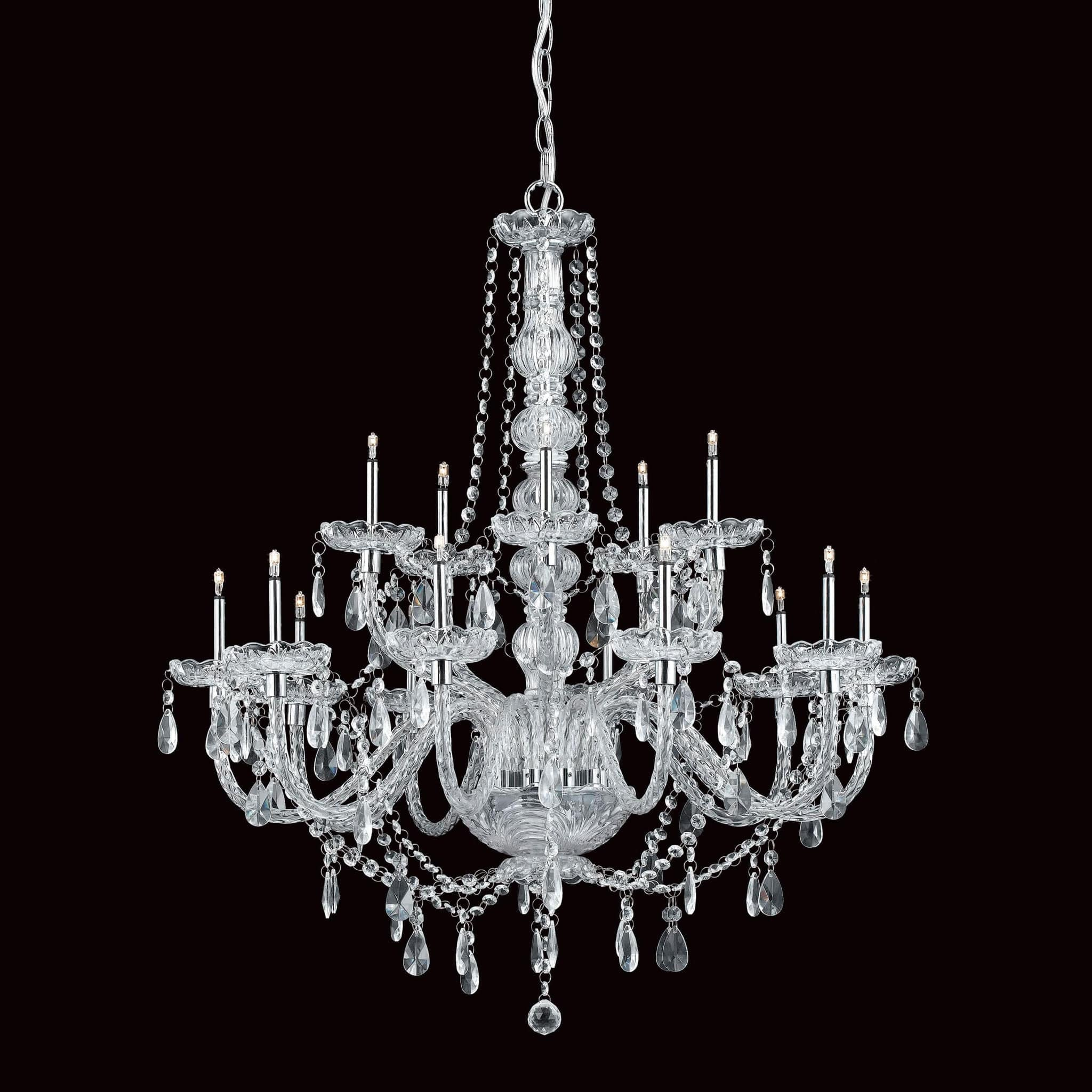 Impex Imperia 15 Light Chrome Candle Crystal Chandelier CFH011021/15/CH ...