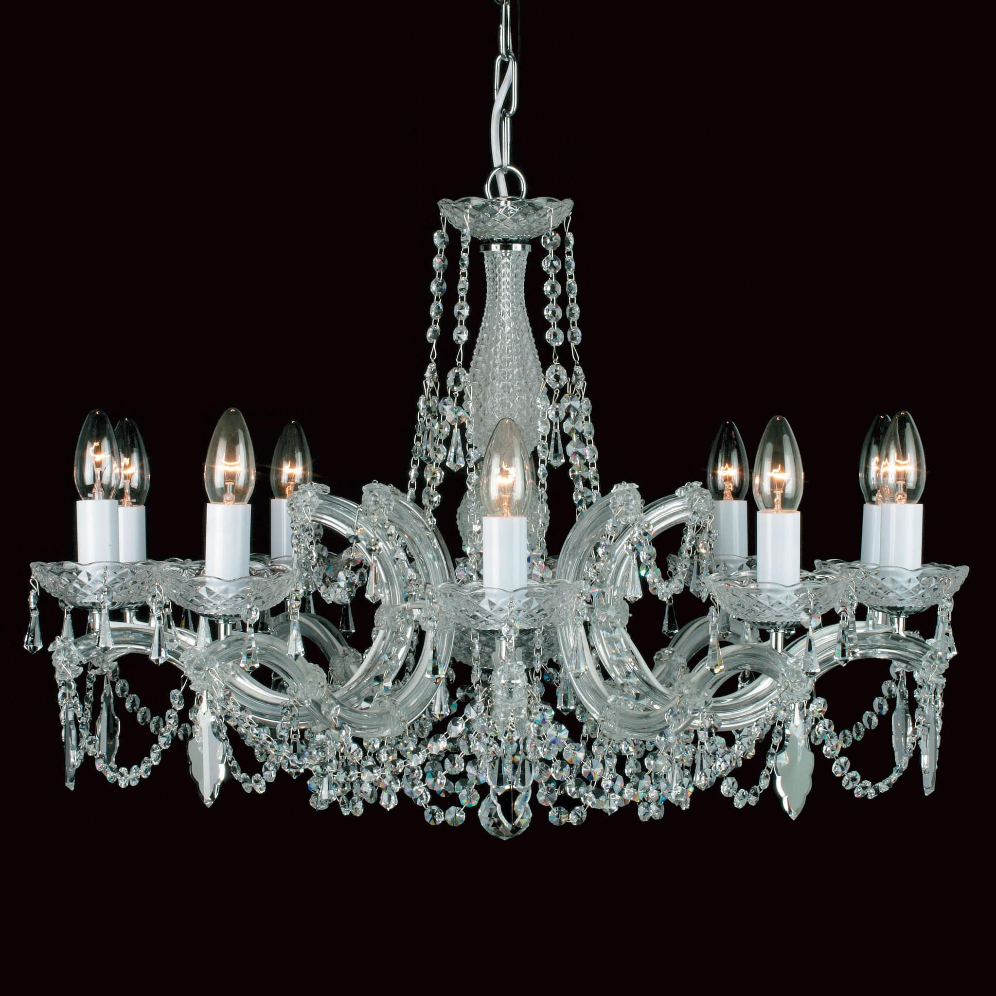 Impex Marie Therese 10 Light Chrome Crystal Chandelier CP00150/10/CH ...