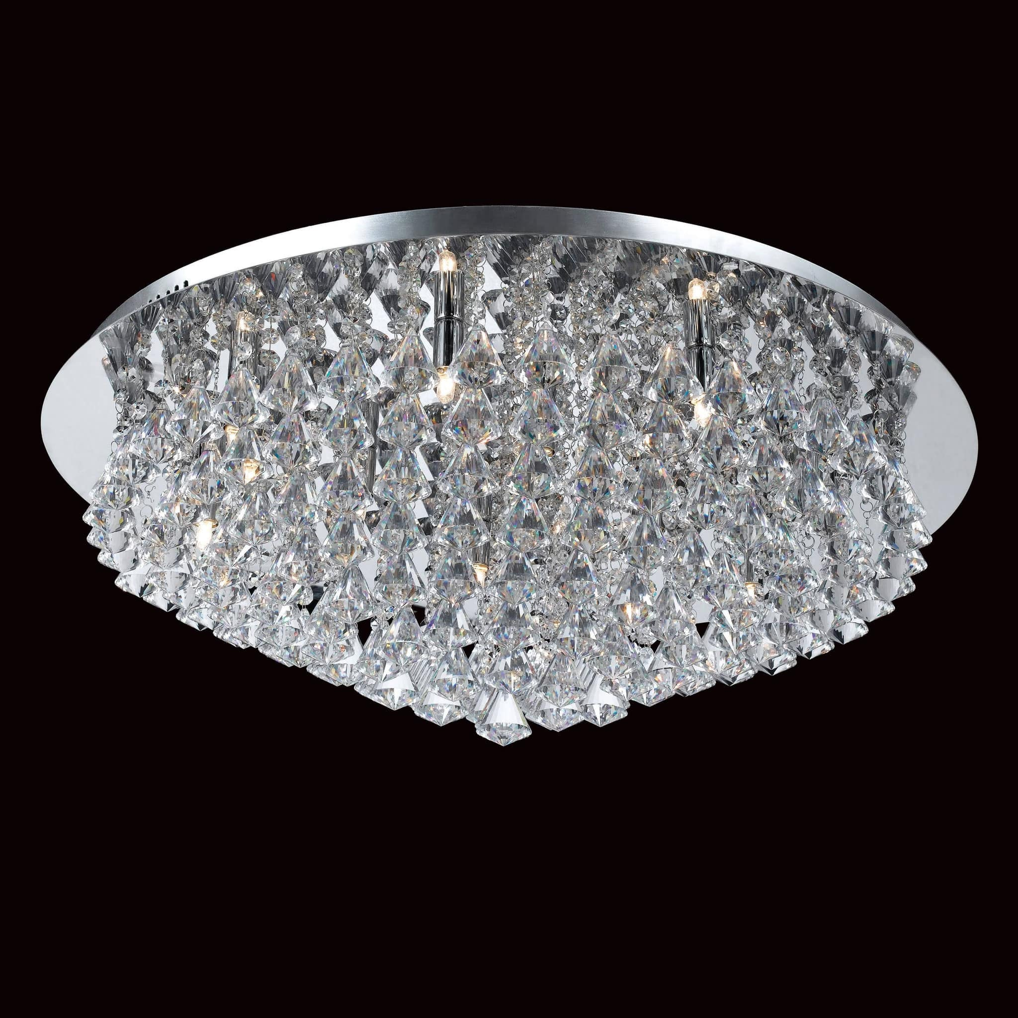 impex parma  light crystal flush chandelier in chrome - impex parma  light crystal flush chandelier in chrome cfhch