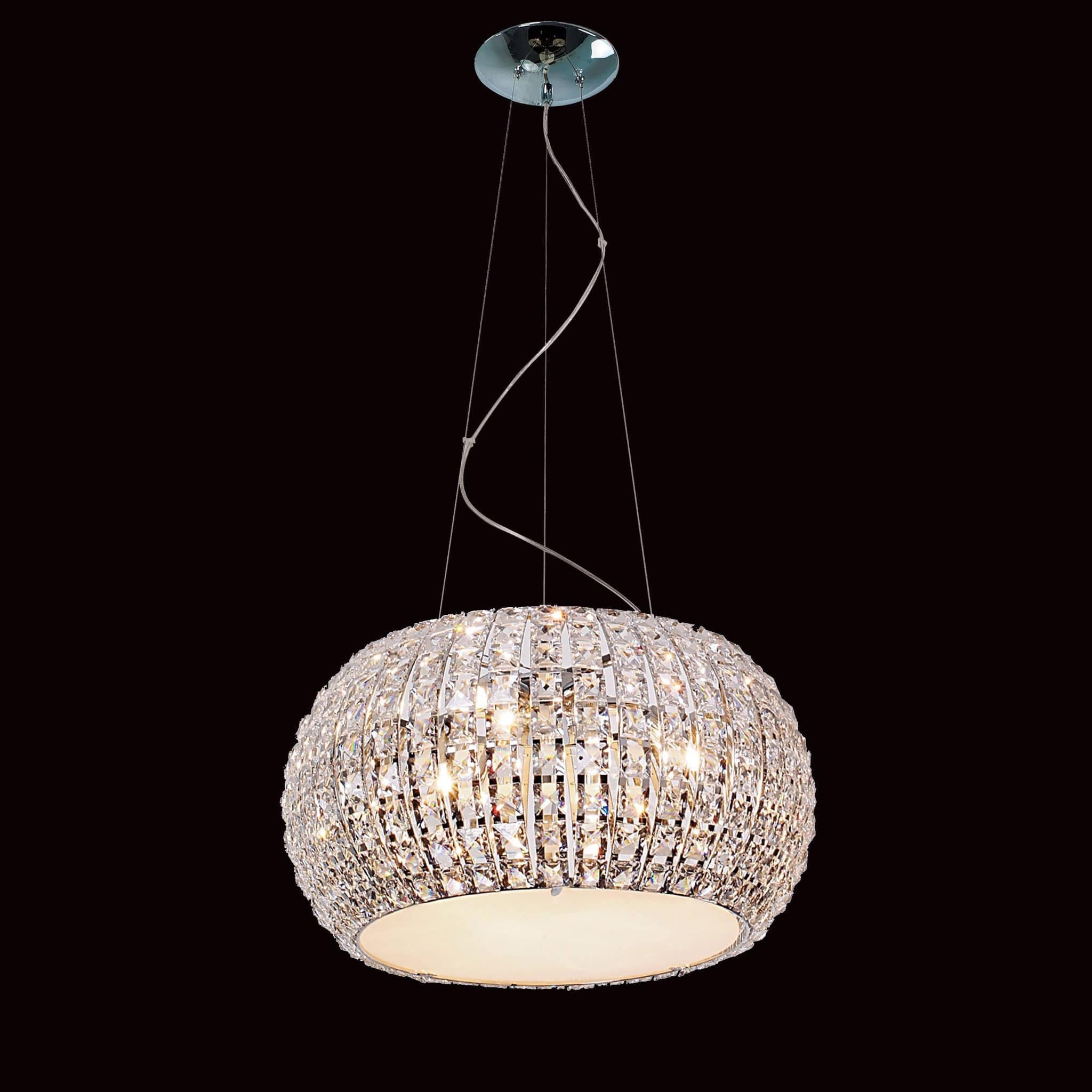 Impex Rome 9 Light Chrome Clear Crystal Drum Chandelier