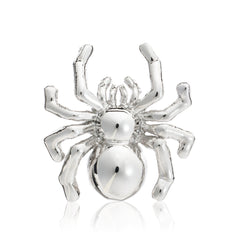 Polished metal spider lapel pin