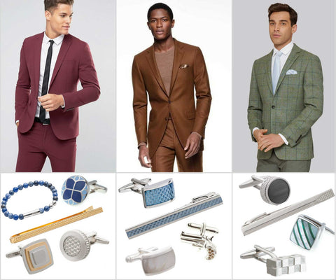 Accessories for cranberry, acorn and green suits