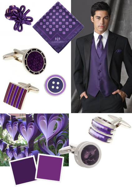 Purple and Lilac Groom's Wedding Accessories by Elizabeth Parker