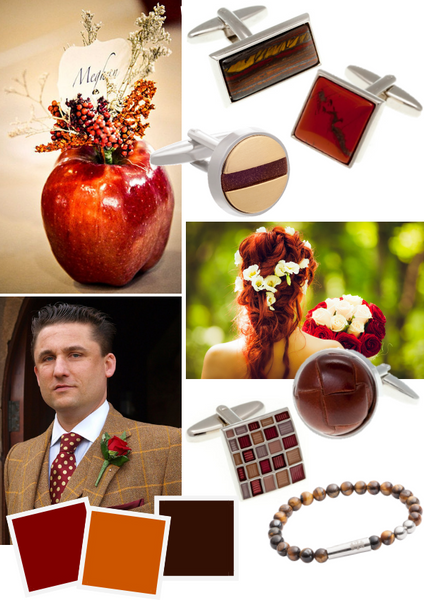 Burnt Orange Red and Brown Groom's Accessories for Autumn Weddings by Elizabeth Parker