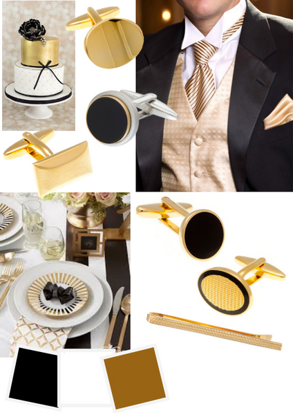 Gold White and Black Groom's Cufflinks by Elizabeth Parker