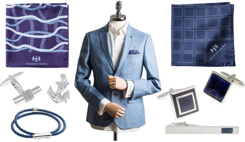 Accessories to match a light blue suit by Elizabeth Parker