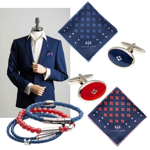 Red and Navy Cufflinks and Pocket Squares by Elizabeth Parker
