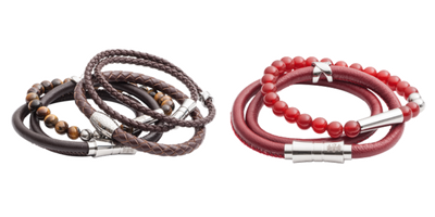 Men's leather and bead bracelet stacks