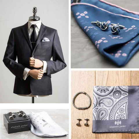 Elizabeth Parker Pocket square and matching accessories