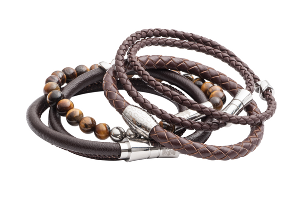 Leather and bead men's bracelets by Elizabeth Parker