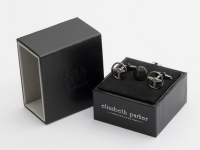 Motoring Enthusiasts Cufflink and Lapel Pin Gift Set by Elizabeth Parker