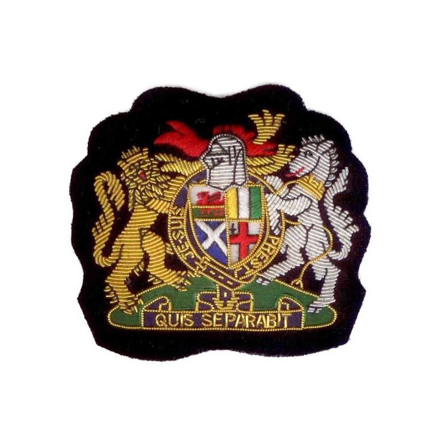 Hand Embroidered Heraldic Blazer Badge Crest With Gold & Silver Bullion Wire - BB013 (YY)