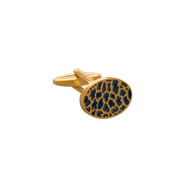 'The Wildling' Blue and Gold Leopard Print Cufflink