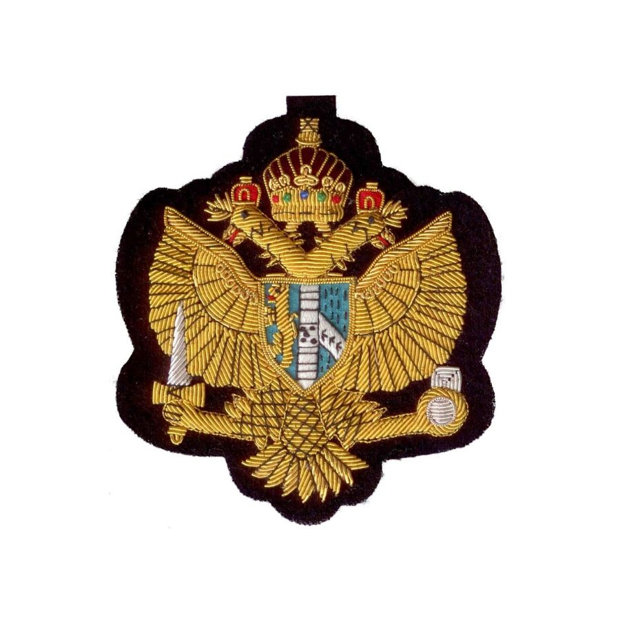 Hand Embroidered Heraldic Blazer Badge Crest With Gold & Silver Bullion Wire - BB007 (YY)