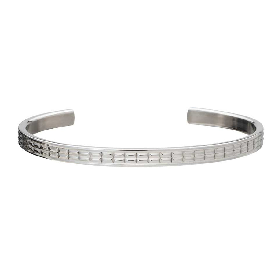 Grid Patterned Stainless Steel Men's Cuff Bangle by Elizabeth Parker