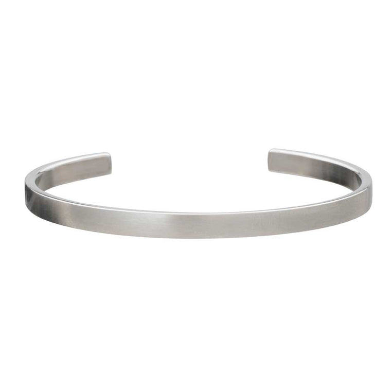 Smooth Brushed Stainless Steel Cuff Bangle by Elizabeth Parker