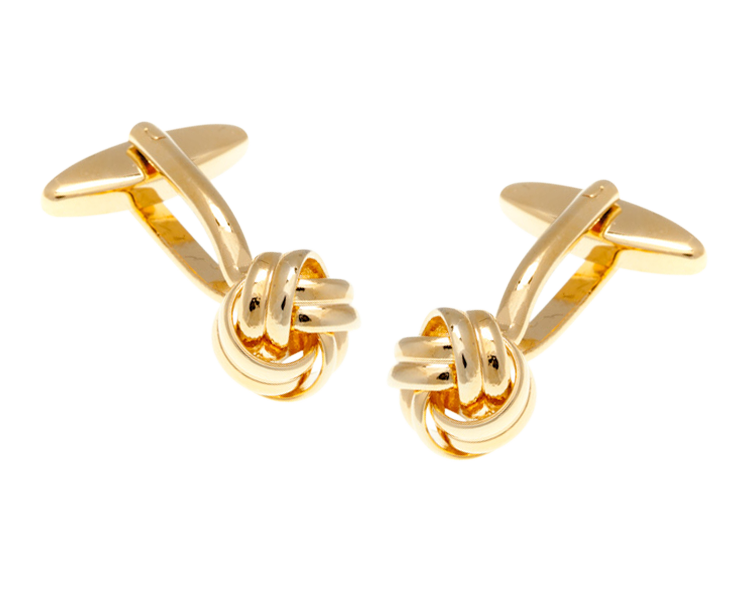 Gold Plated Intricate Woven Ribbon Knot Cufflinks