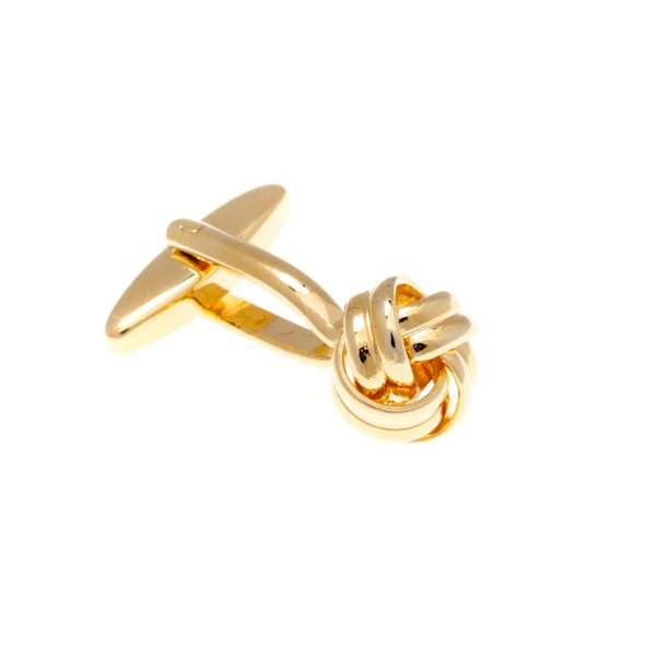 Gold Plated Knot Intricate Woven Ribbon Design Plain Metal Simply Metal Cufflinks by Elizabeth Parker England