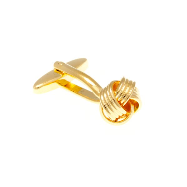 Gold Plated Gilt Knot Intricate Woven Knot Weave Plain Metal Simply Metal Cufflinks by Elizabeth Parker England