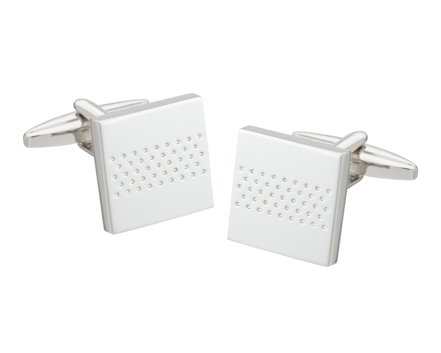 Dotted Stripe Square Cufflinks