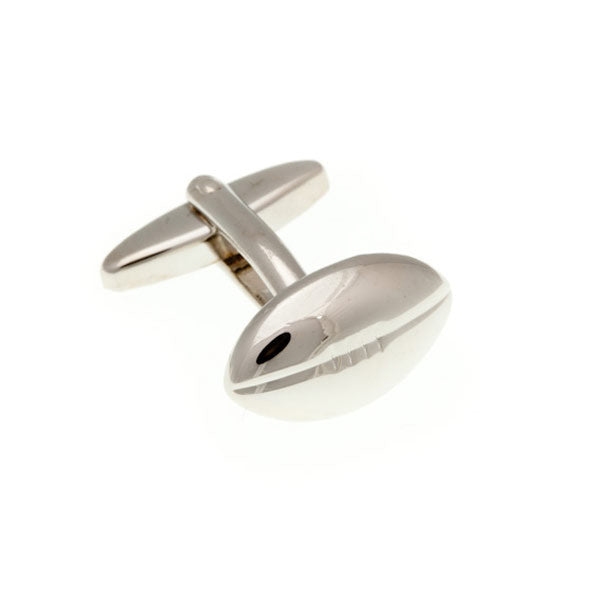 Rugby Ball Plain Metal Simply Metal Cufflinks by Elizabeth Parker England