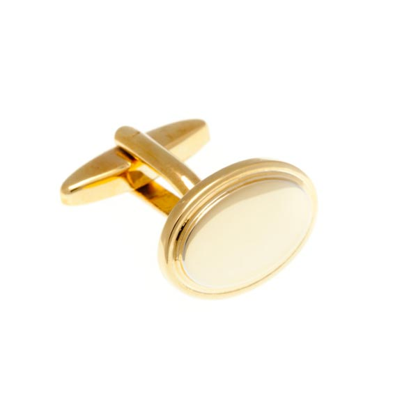 Oval Gold Plated Gilt Plain Metal Simply Metal Cufflinks by Elizabeth Parker England