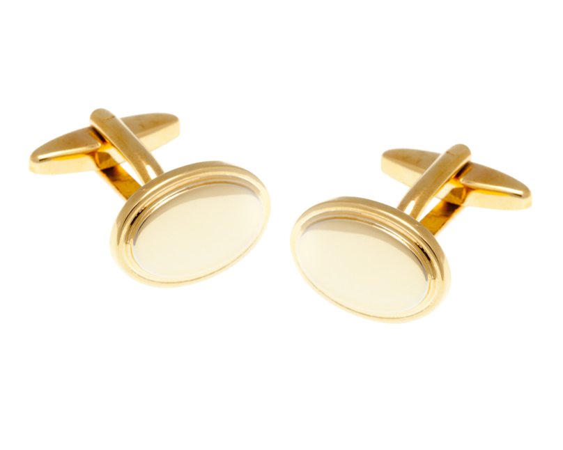 Oval Gold Plated Gilt Cufflinks