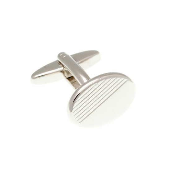 Diamond Cut Oval Plain Metal Simply Metal Cufflinks - by Elizabeth Parker England
