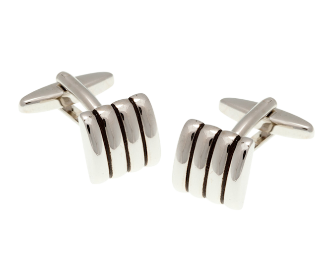 Domed Stripe Square Cufflinks