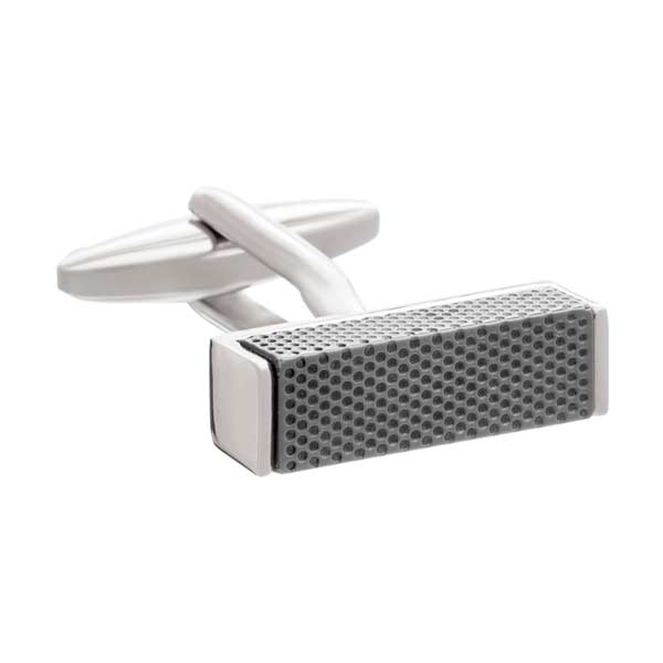 Textured metal block cufflinks by Elizabeth Parker